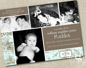 Photo Birth Announcement, Birth Announcements, Baby Boy, It's a Boy, Toile, Boy Announcements, Photo Cards, New baby, Thanks be to God, Boy