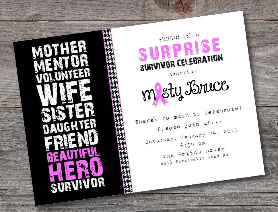 Breast Cancer Survivor Party Invitation PRINTABLE CUSTOM
