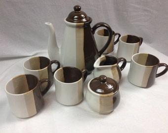 Vintage Nine Piece Coffee Set or Tea Set, Ceramic Tea Set, Ceramic Coffee Set, Pottery Coffee Serving Set