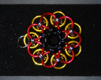 Heptagram pendant etsy chainmail pendant red black and yellow tri tone heptagram flower handcrafted in aloadofball Choice Image