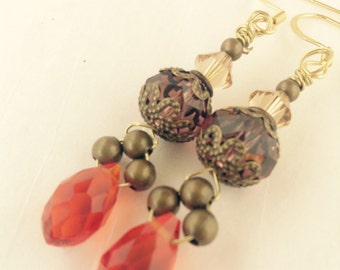 A Drop of Autumn~Faceted glass and swarovski earrings