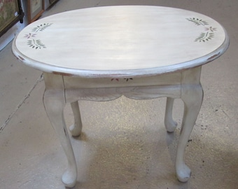 End Table, Side Table, Occasional Table, Hand Painted, Shabby Chic