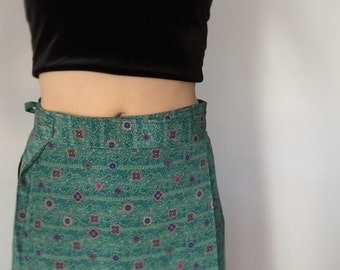 70s vintage silk skirt and blouse green