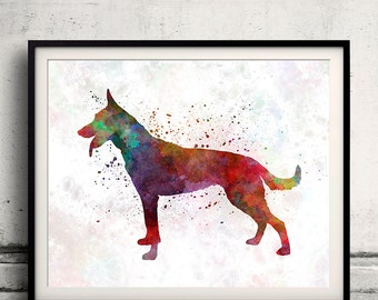 Dutch Shepherd Dog in watercolor INSTANT DOWNLOAD 8x10 inches Fine Art Print Poster Decor Home Watercolor - SKU 1091