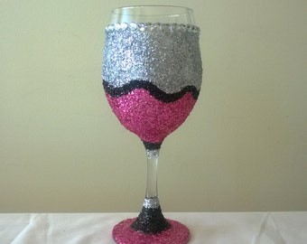 Extreme Glittered Bling Wine Glass with Rhinestones