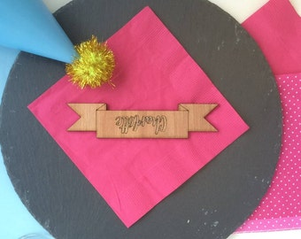 Wooden Ribbon Place Name Wedding Table Place Setting Personalised