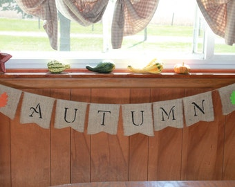 FALL Autumn LEAVES ~ Burlap Banner/Garland ~ Thanksgiving Fall Autumn Holiday Decoration