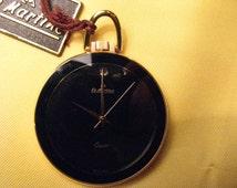 Golden pocket watch with enamel dial black, SWISS MADE quartz movement.