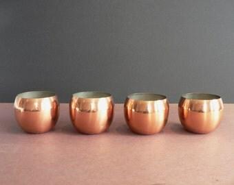 Mini Copper Plant Pots Lot of 4 - Coppercraft Guild - CG - Succulent Planters Copper Minimal Decor