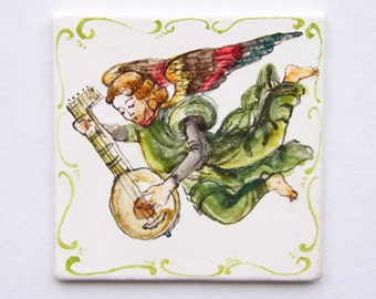 Angle with guitar - Ceramic tile, hand-made and hand painted