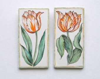 Tulips - Ceramic tile, hand-made and hand painted