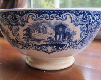 Vintage Petrus Regout Maastricht Flow Blue Abbey Bowl - Made in Holland