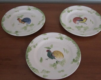 Vintage - Set of 3 - Made in Italy for Casafina - Hand painted Roosters on plates