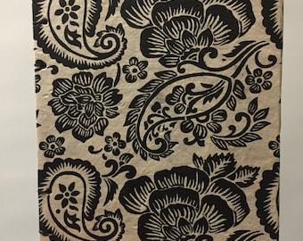 Floral Paisley Black & White Blank Journal