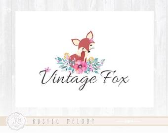 Fox Logo Design Floral Logo Vintage Logo Watercolor Logo Boutique Logo
