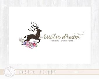 Deer Logo Floral logo Design Watercolor Logo Rustic Logo Boutique Logo Photography Logo Watermark