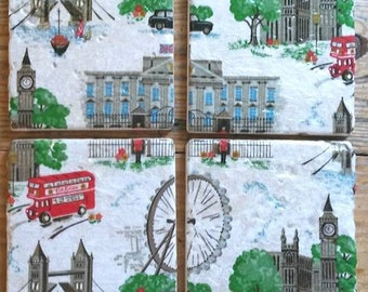 "Natural stone coasters using Cath Kidston ""London"" design"