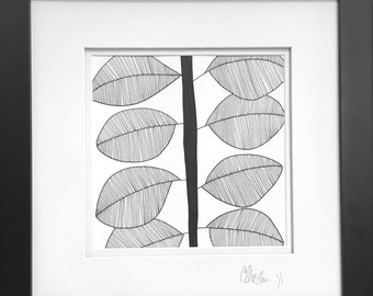 Original Framed Pen and Ink Modern Leaf Drawing