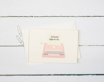 Typewriter wedding card- And they lived happily ever after- Wedding greetings card