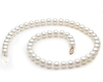 """PWS028PL 18"""" Freshwater Pearl Necklace 7-8mm AAA Quality with 14k Solid Yellow Gold Clasp"""