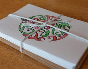 Handmade Note Cards Set - Zentangle Ornament