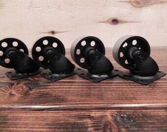 "Caster Wheels 2"" - Steel Industrial Rustic - 2 Colors - Set of 4"
