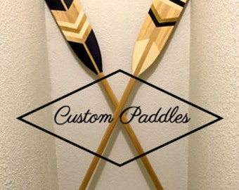 Custom Painted Canoe Paddle - Decorative Cottage Gift - Nautical