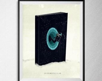 Interstellar print, Illustration, Minimal film poster, minimalist movie art, custom posters, film and movie print, film art.