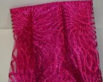 "Hot Rose Pink Sparkle Spider Sunburst Printed Tulle 19"" Width 4 DIY-Costume, Tutu, Decor, Party, Halloween, Rave"