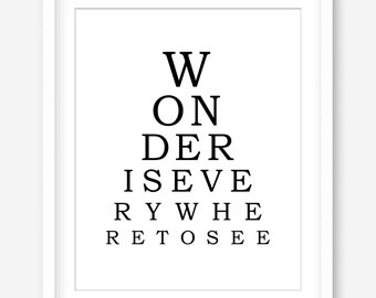 Inspirational quote printable art - eye chart print - black and white art - printable wall art - motivational wall decor - DIGITAL DOWNLOAD