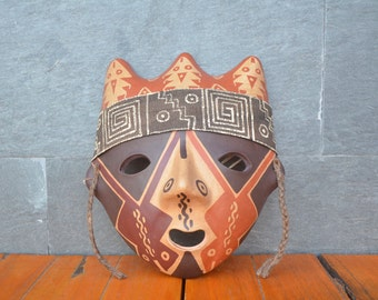 Mask with spiral by Chancay culture, Peru  #8