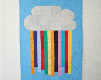Modern baby quilt. Cloud rainbow quilt. Bright cot quilt. Kid's quilt. Cotton quilt. Unique design. Cloud nursery decor. Baby keepsake.