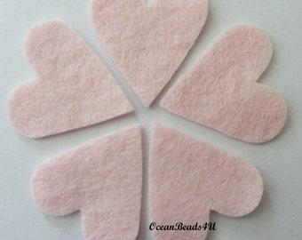 25 Pink Felt Hearts