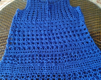 Cobalt Blue, Crocheted Beach Cover-up Size Medium-Large