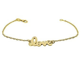 "18MM STERLING Hand Cut Script ""LOVE"" BRACELET (10001)"