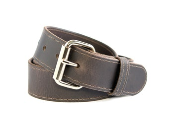 Dark Brown Buffalo Leather Mens Belt - Stitched - 1.5 inch Wide with Removable Buckle
