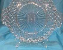 Vintage Clear Waffle Pattern Cake Plate with Handles