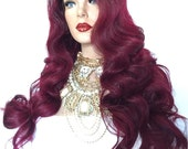 """FRENCH/// 26"""" Burgandy Red Hair with Black 2"""" Roots Lace Front Wig"""