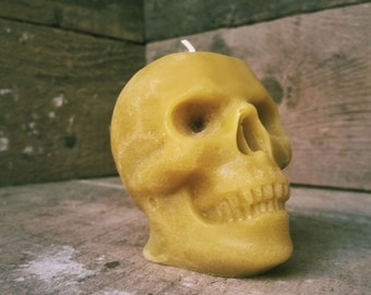 Small Human Skull Candle, Spooky Beeswax Memento Mori Candle