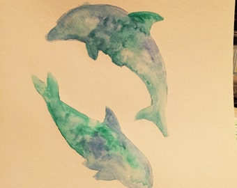 Dolphins-Wateecolor on mixed media paper 8x11
