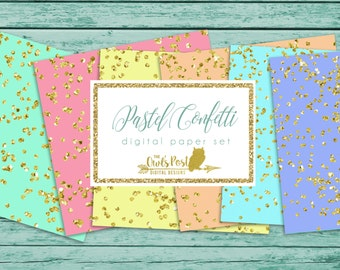 Gold Confetti & Pastel Paper Pack | Set of 6 Digital Papers | 12x12 inch, 300 dpi | Instant Download | Gold Glitter Confetti | Modern Print