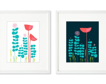 Red Poppies - SET OF 2 - 8x10 prints, red poppy flowers, field of flowers, night and day poppy, graphic flower silhouette