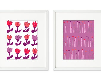 PoppyPop - SET OF 2 - 8x10 prints, graphic flowers, pink and purple, red and orange, floral print, contemporary flowers, bold colors