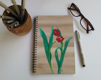 Hand Painted Spiral Journal; Wire Bound Blank Notebook; Writing Journal, Small Sketchbook; Red Tulips - Perfect Love