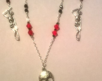 Halloween Style Skull/Skeleton Necklace and Earring Set