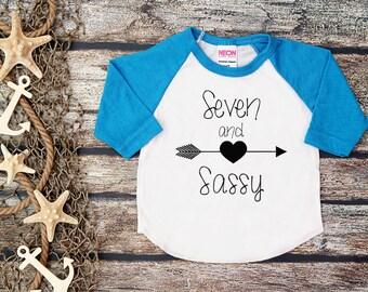Seven and Sassy Shirt;Kid's Shirt;Seventh Birthday Shirt;Girl's Seventh Birthday;Girl's Baseball Shirt;7th Birthday Shirt Kid's;