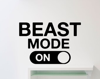 Beast Mode Wall Decal Fitness Gym Motivational Quote Vinyl Sticker Home Crossfit Sport Poster Workout Inspirational Art Decor Mural 113gy
