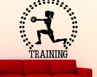 Training Gym Wall Sticker Sports Fitness Vinyl Decal Home Interior Decoration Waterproof High Quality Mural (44gy)