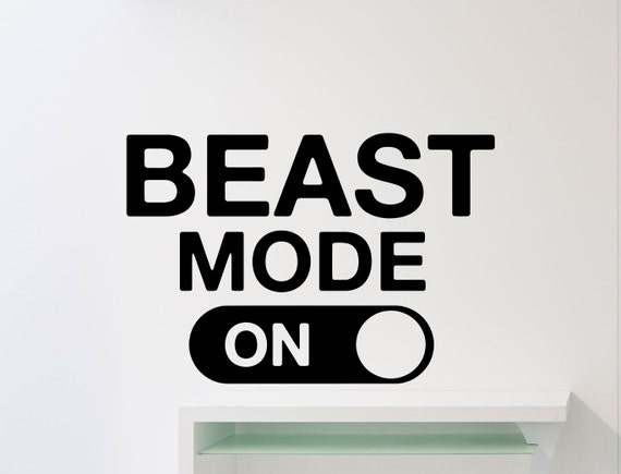 Beast Mode Wall Decal Fitness Gym Motivational Quote Vinyl