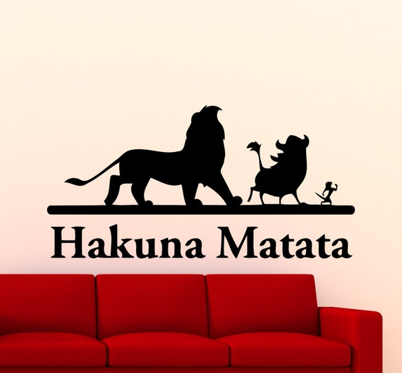 hakuna matata lion king wall sticker cartoon vinyl decal home. Black Bedroom Furniture Sets. Home Design Ideas